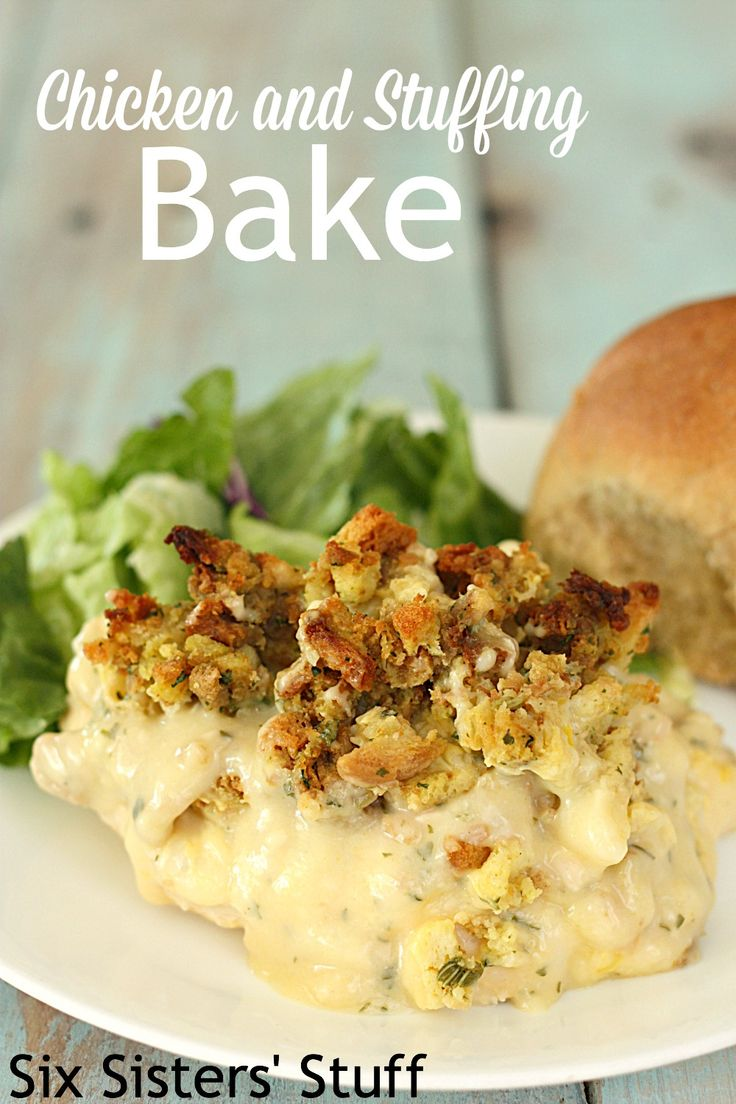 Chicken and Stuffing Bake on SixSistersStuff.com - an easy and classic recipe perfect for busy nights!