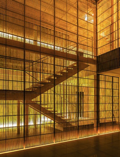 "Ginzan Onsen Fujiya (2006) | Yamagata, Japan • Kengo Kuma + Associates. ""This atrium is surrounded by a delicate screen made from 4mm wide slits of bamboo (Sumushiko)."" ― Kengo Kuma + Associates"