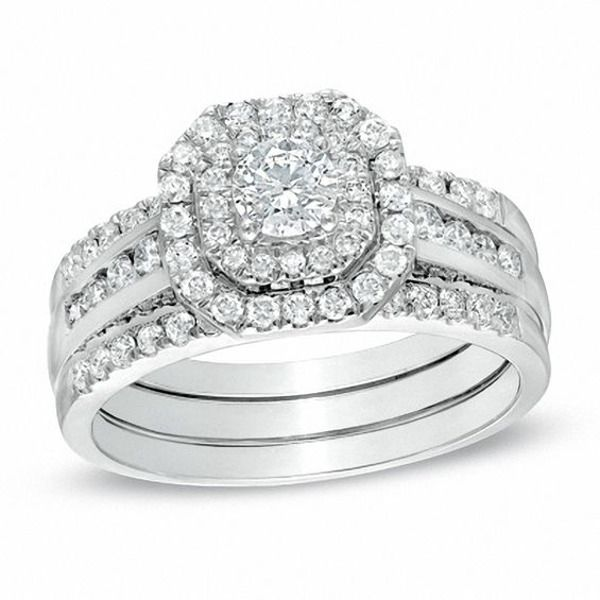 1 Ct T W Diamond Octagonal Double Frame Bridal Set In 10k White Gold Zales In 2020 White Gold Wedding Ring Bands Diamond Bridal Sets