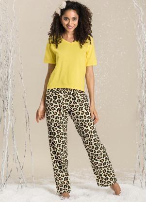 Pijama Feminino  Amarelo Estampa Oncinha