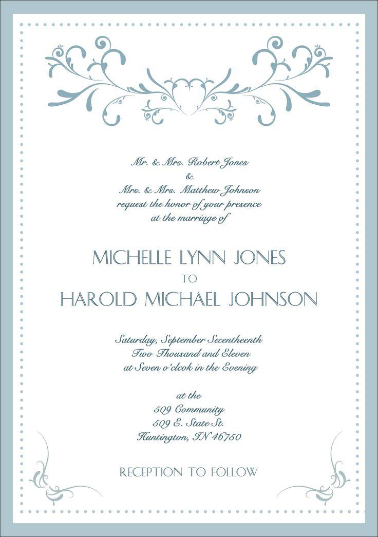 formal wedding invitation samples - Formal Wedding Invitation