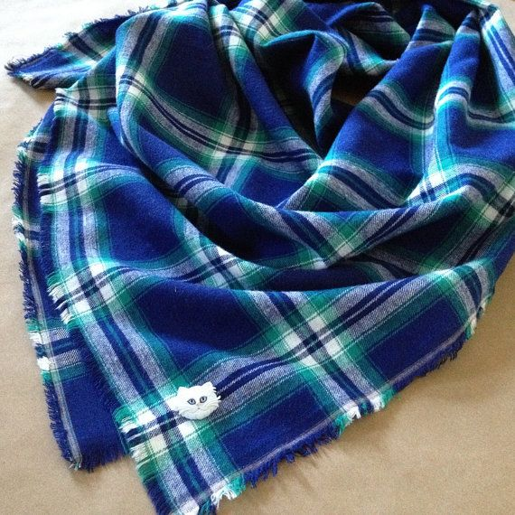 Blue and Green Plaid Cotton Blanket Scarf by AlannaAccessories
