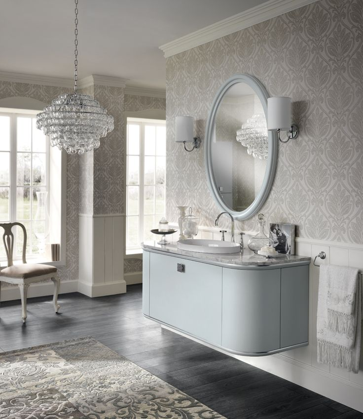 An exquisitely elegant neoclassical bathroom solution with a refined #design and exclusive details (handles and frames with silver profiles), this composition is finished in Ice matt lacquer.