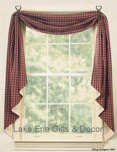 Primitive Window Treatment Ideas | Sturbridge Fishtail Swag Curtain