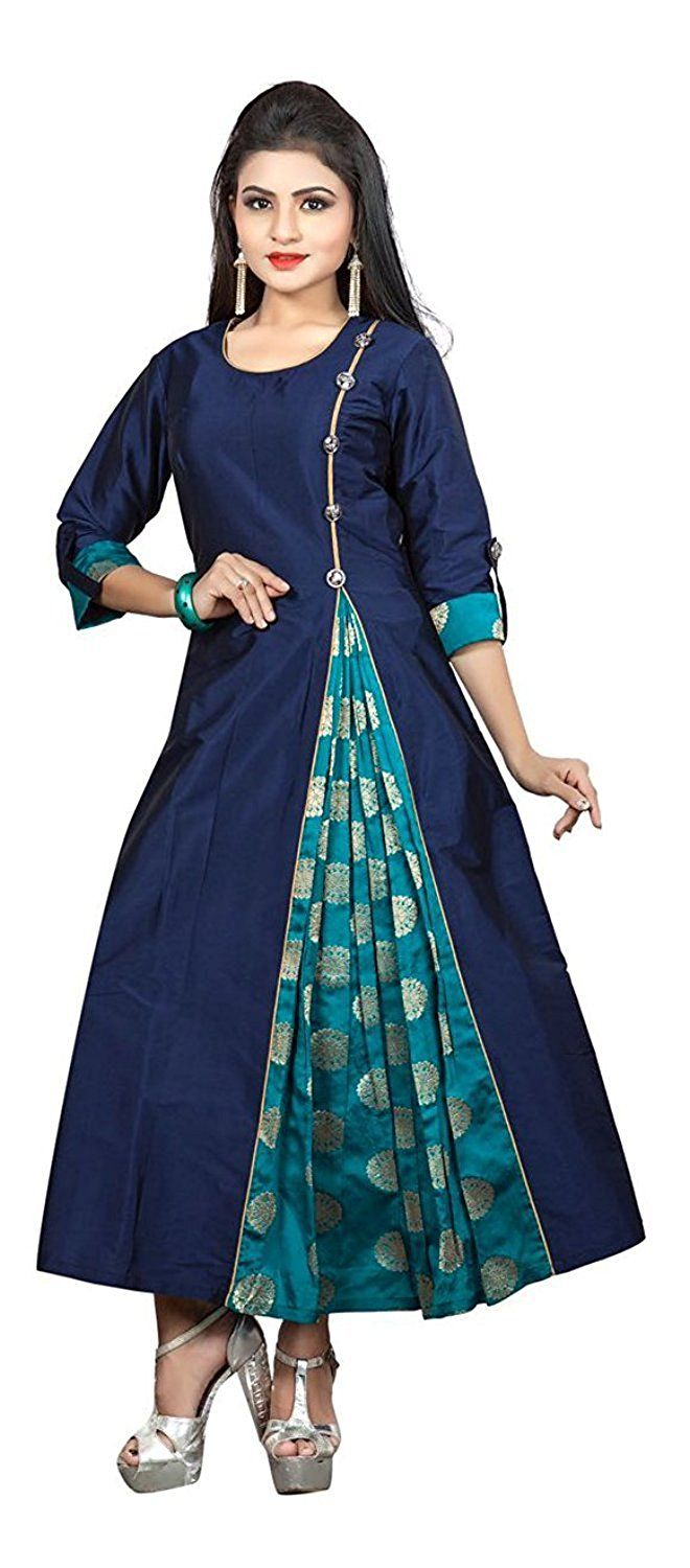 Ruchika Fashion Women's Clothing Silk Navy Blue Kurti for Women Latest Design Party wear Collection: Amazon.in: Clothing & Accessories