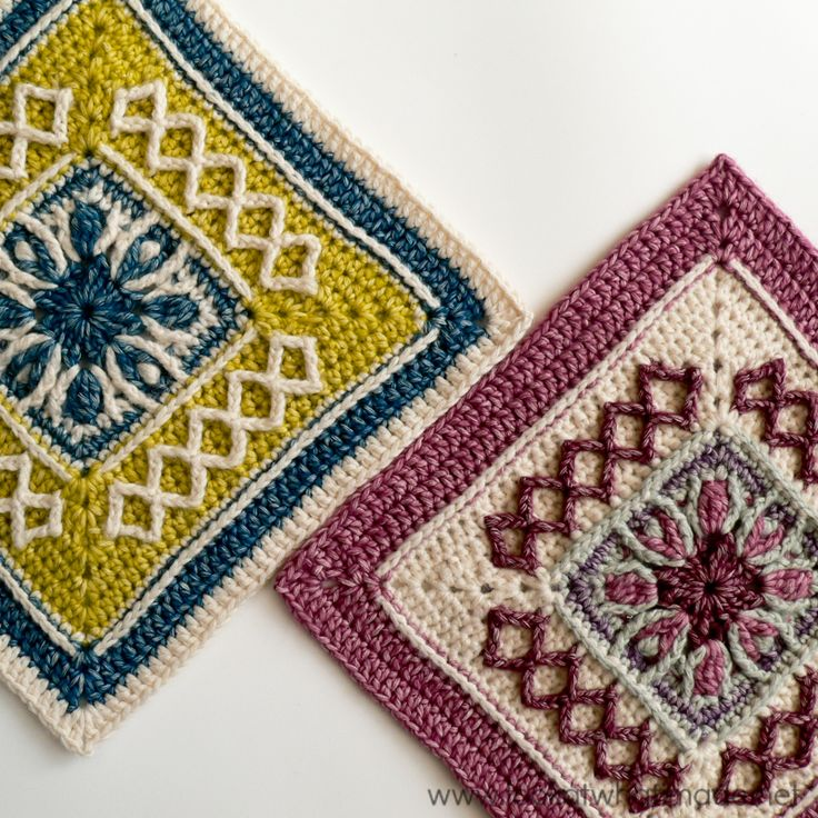 Create your own custom afghan with these 20 Free Crochet Afghan Squares in 3 different size categories!