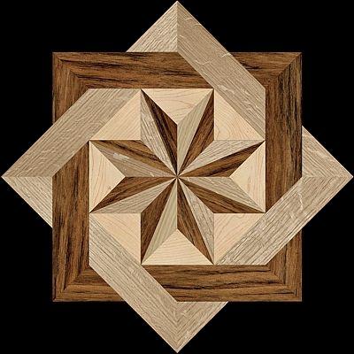 8 RAYS SIMPLE - Hardwood Floor Medallion