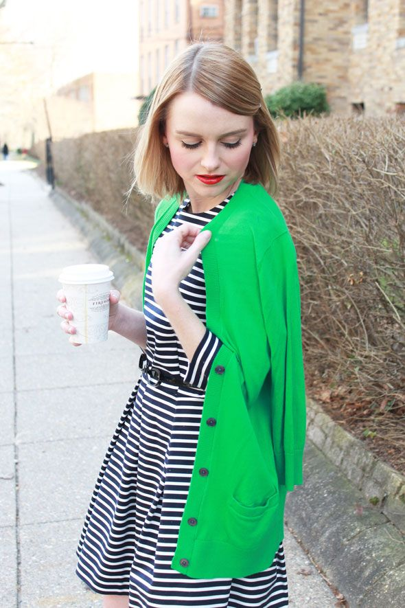 Poor Little It Girl - Gap Striped Dress and Green Cardigan with Sole Society Black Flats