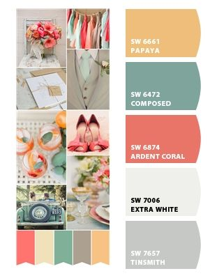 Hall bathroom colors. Mint walls. Creme/white tile floors (same as in master bath). Painted light gray vanity cabinets with white marble top. Gray and white striped shower curtain. Coral towels and bath mats. Little random yellow accents thrown in. (Flowers or painting)