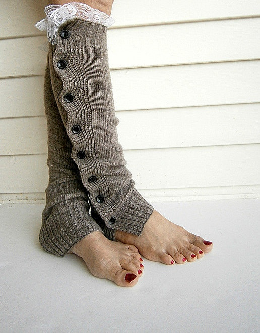 Knit Leg Warmers Boot Cuffs Socks Button Down Lace Trim- Camel. $25.50, via Etsy.