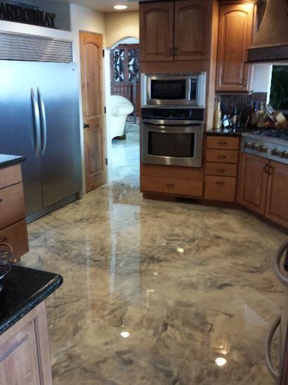 Piso de Porcelanato Liquido Epoxi ou 3D cimento queimado na cozinha
