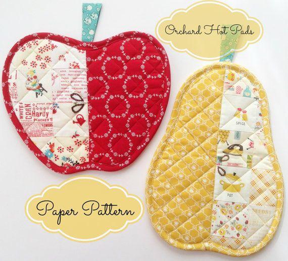 Orchard Hot Pads  Apple & Pear     PAPER Pattern por ChariseCreates