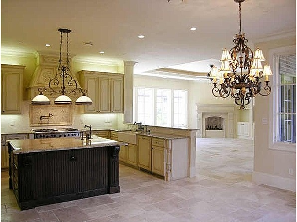 Antique white kitchen dark island kitchens pinterest for Antique white kitchen cabinets with dark island