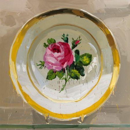 """Jan de Vliegher ~ Treasury Series - Large-Scale (79""""x79"""") paintings of antique/antique-style porcelain plates"""