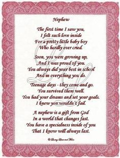 I Love You Nephew Poems | Nephew poem is about a special nephew. Poem may be personalized with ...
