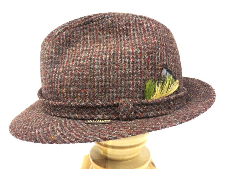 Vintage Brown Wool Tweed Fedora, Biltmore Hat Made in Canada, Harris Tweed, 7""