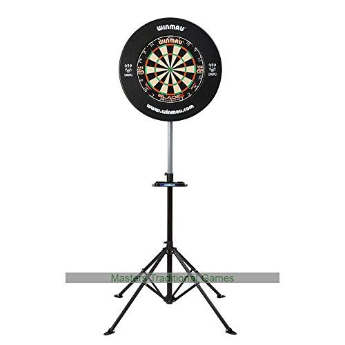 Winmau Xtreme Freestanding Dartboard Unit (114237588) by Winmau. Collapsible and height adjustable dartboard stand. Very portable and compact allowing you to play the game wherever you go. Robust black steel stand with lockable height setting - Easy to assemble. Dartboard surround NOT included. From Winmau - the leading Darts brand.