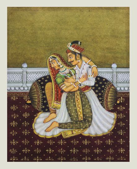 Mewar king and queen love scene - A work of pure Mewar school of miniature art from vintage collection by the artist. Dimensions - 5X6 inches Painting on vintage handmade paper. Contact KalaCafe to buy