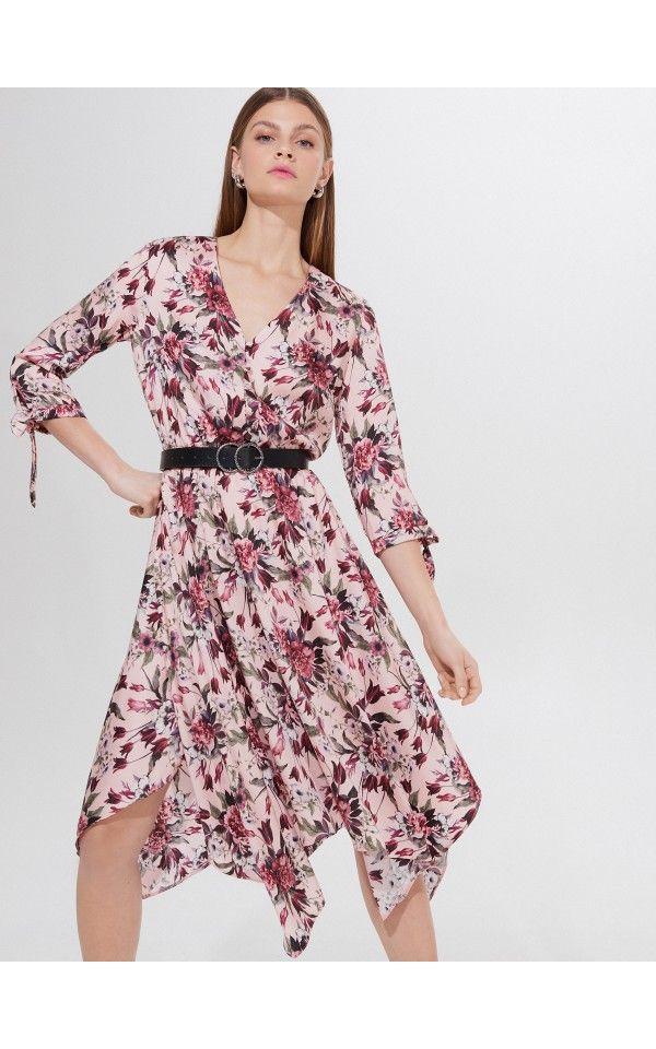 Midi Sukienka We Wzory Sukienki Kombinezony Rozowy Mohito Patterned Midi Dress Casual Dress Long Sleeve Dress