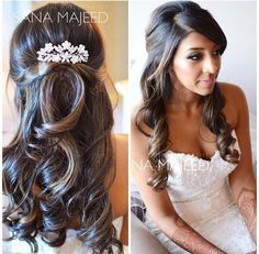 Half up half down hairstyle curls, bridal, hair comb wedding engagement hairstyl…