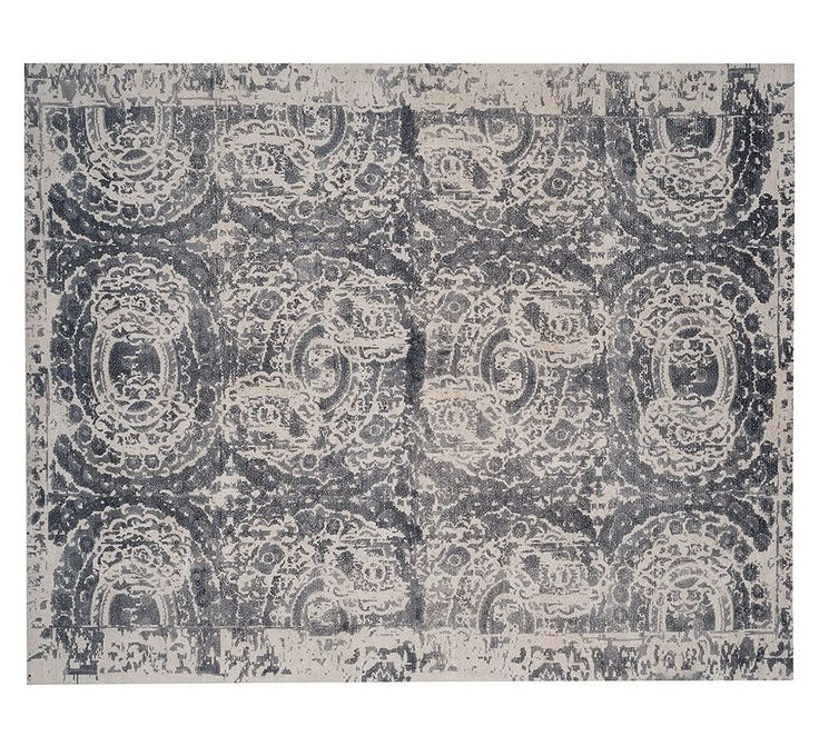 Bosworth Printed Wool Rug Gray Wool Gray And Grey