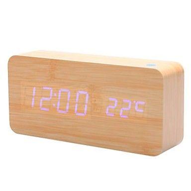 cáqui madeira projeto azul luz de mesa despertador calendário termômetro (usb/4xaa) – EUR € 22.62