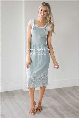 2680129bb3e9 Sage Embroidered Overall Dress, Modest Dress Bridesmaids Dress, best modest  boutique, cute modest clothes, modest dresses, best online modest boutique,  ...