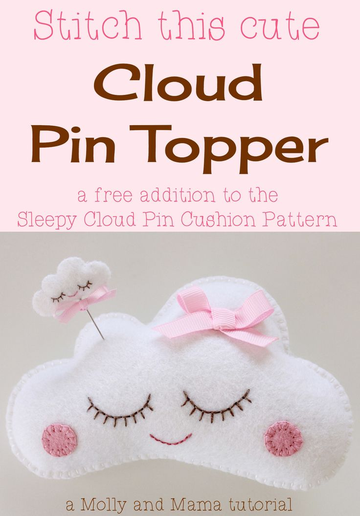 Stitch up this teeny-tiny 'CLOUD' pin topper using the free template. It complements the 'Sleepy Cloud' pin cushion pattern perfectly! Brought to you by Molly and Mama.