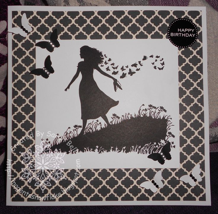 Silhouette Meadow Girl Digi-Stamp, card designed by Sarah Bell - http://www.littleclaire.co.uk/product/digi-silhouette-meadow-girl.html