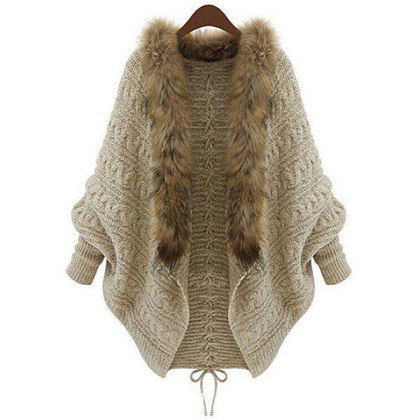 Plus Size Bat Sleeve Wool Collar Lace-Up Women's Cardigan