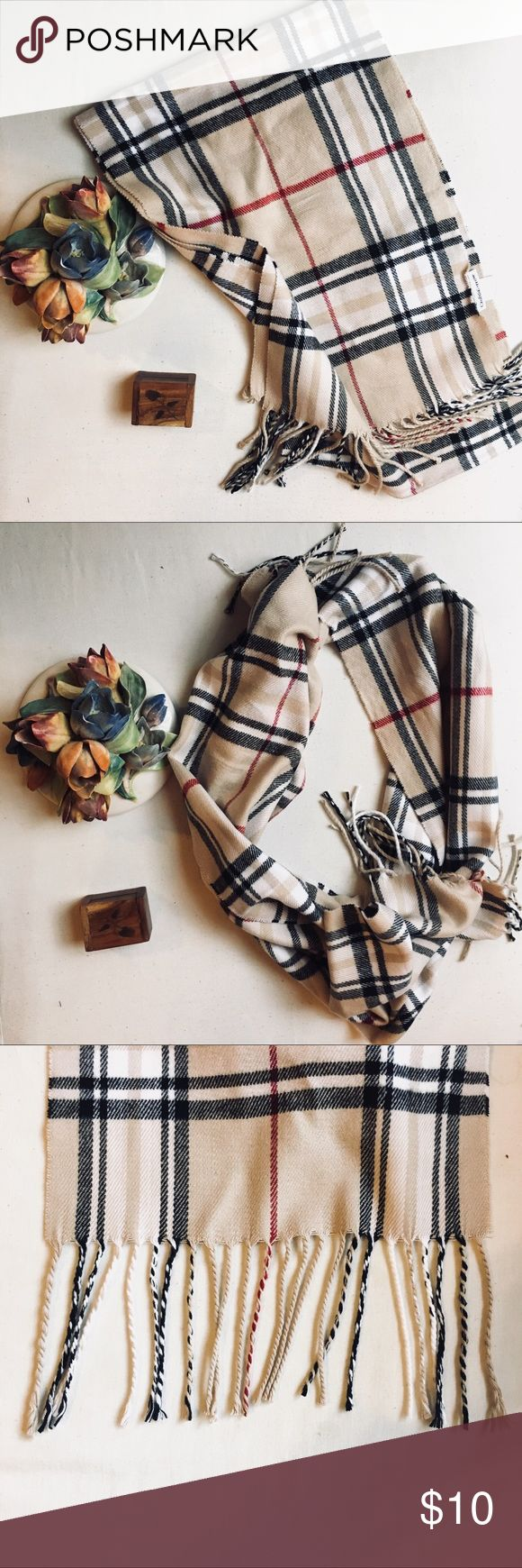 """🍨 NWOT Croft & Barrow Cream Plaid Scarf This cozy Croft & Barrow scarf will keep you warm while looking cute! Never worn, new without tags. Cute plaid design that's reminiscent of Burberry. 100% Acrylic. No trades please. Offers welcome.   Width: 10.5"""" Length: 64"""" Fringe length: 4.5"""" croft & barrow Accessories Scarves & Wraps"""