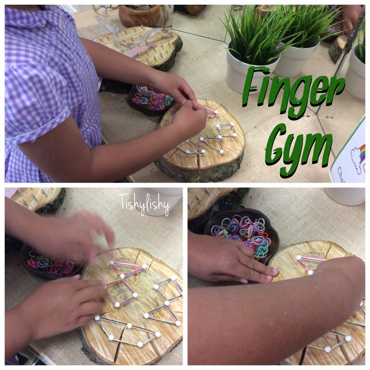 My homemade fine motor resources on the Finger Gym - loop board and geo board.
