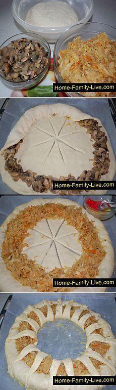 Пирог с капустой и грибами - пошаговый рецепт с фотоКулинарные рецепты