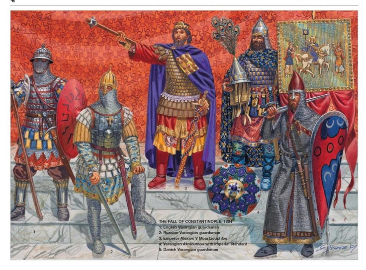 Emperor Alexius V and his Varangian guard. Fall of Constantinople 1204. Osprey publishing.
