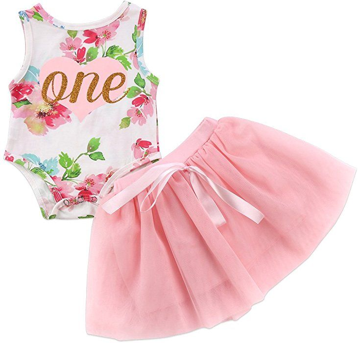 IBTOM CASTLE Unicorn First Birthday Baby Girl Romper Clothes 2pcs Outfits Set
