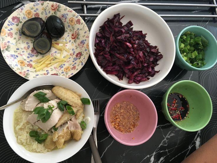 Hainanese chicken porridge with century eggs