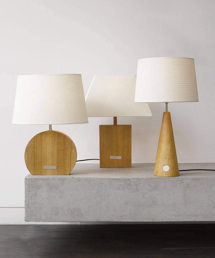 Beacon Lighting - Otway 1 light round touch lamp with teak wood base/brushed chrome touch strip and white shade