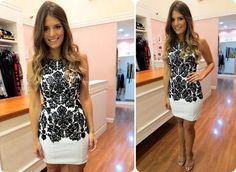 Vestido de renda preto e branco Como usar?   – modelo de vestidos
