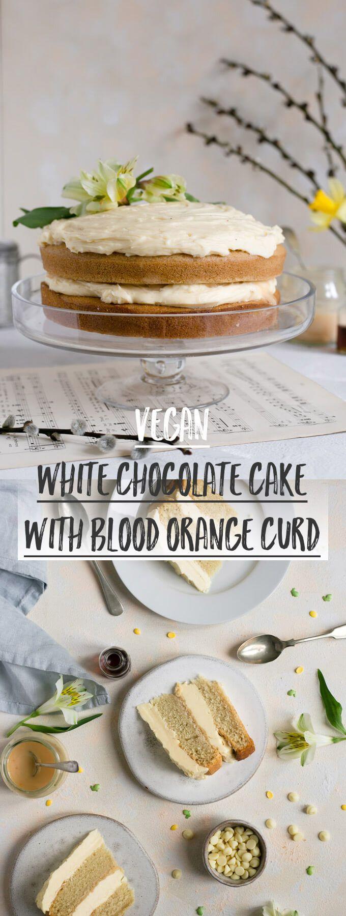 Vegan white chocolate cake with a hidden layer of blood orange curd #vegan #dairyfree #cake   via @annabanana.co