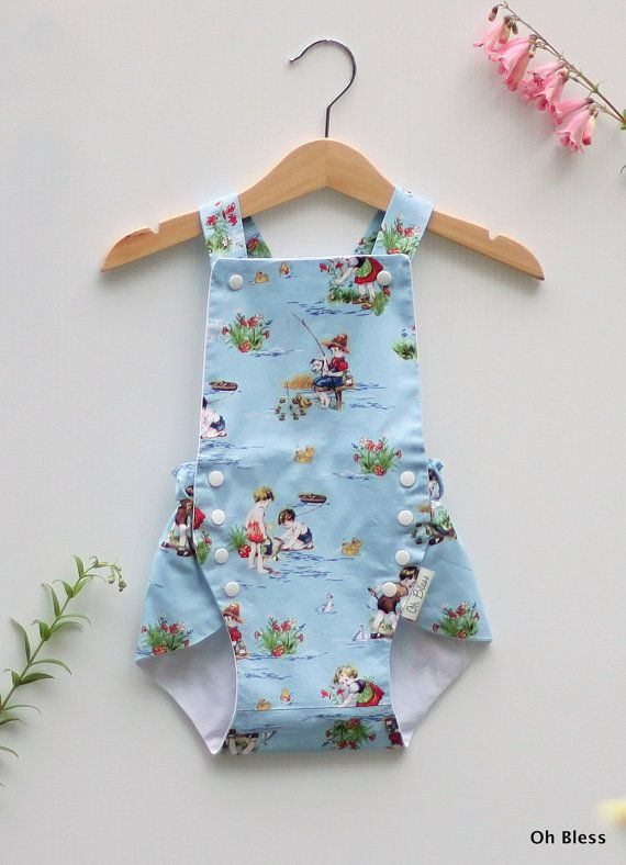 Vintage style retro baby sunsuit with adjustable by OhBless