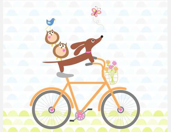 Doxie and Owls Ride a Bicycle Dachshund Art Print 8x10
