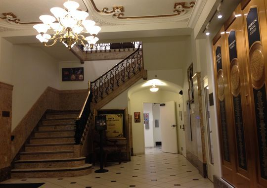 Building enables YWCA to empower women. Photo: The lobby of the YWCA Building features art deco styling, from the marble staircase to the original brass elevator doors that have been adapted as a display on the right. Enquirer file photo