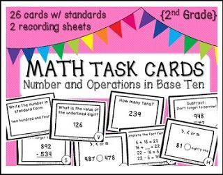 """FREE MATH LESSON - """"FREEBIE Math Task Cards: Number and Operations in Base Ten CCSS"""" - Go to The Best of Teacher Entrepreneurs for this and hundreds of free lessons. 1st - 2nd Grade  #FreeLesson   #Math   http://www.thebestofteacherentrepreneurs.net/2016/11/free-math-lesson-freebie-math-task.html"""