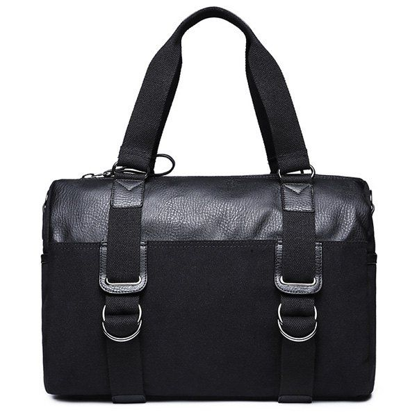 Splicing Canvas Metal Briefcase - BLACK