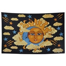 This gorgeous sun and moon tapestry is a celestial delight for your bohemian decor! With a groovy sun and moon hugged together in a psychedelic cloudy starry sky, this sweet hippie tapestry makes the perfect peaceful wall hanging or bedspread for any room that needs a mellow mood! Please note: all tapestry measurements are approximate. $20.00