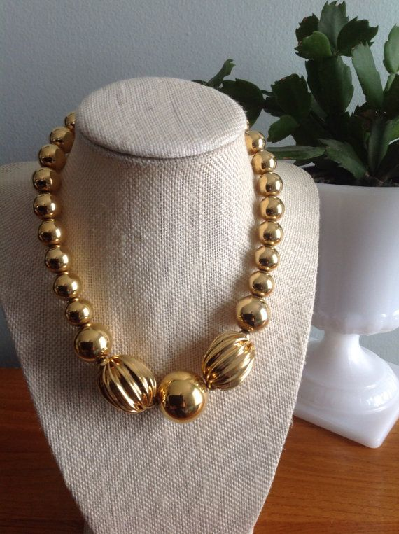 Gorgeous MONET Gold Tone Graduated Heavy Ball by CongenialVintage
