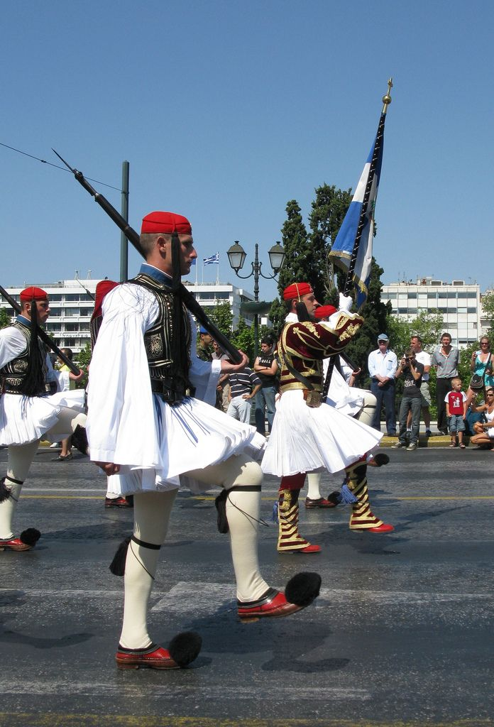 "https://flic.kr/p/6NekpR | Evzones, changing of the guards, Athens, Greece. | Athens, Greece. The Presidential Guards (""Evzones"") guard the Tomb of the Unknown Solder which is located in front of the Greek Parliament Building. Every hour, on the hour, the guards change in a ceremonial fashion. On Sunday mornings the guard changes in grand ceremony, accompanied by a military band.  --- Εύζωνοι, αλλαγή φρουράς."