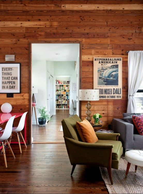 -: Cabin, Living Rooms, Planks Wall, Interiors Design, Wooden Wall, House, Green Chairs, Wood Wall, Wood Panels
