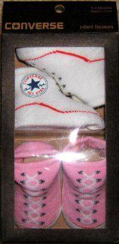 Pusat Model Sepatu Bayi Perempuan - Converse Bayi Bayi Booties Socks, Pink & White, 0-6 Bulan, 2 Pasangan | Pusat Sepatu Bayi Terbesar dan Terlengkap Se indonesia
