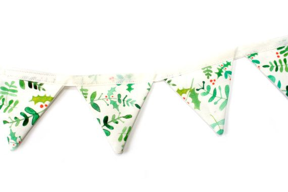Christmas Bunting Mistletoe & Holly Fabric by EmmaAllardSmith
